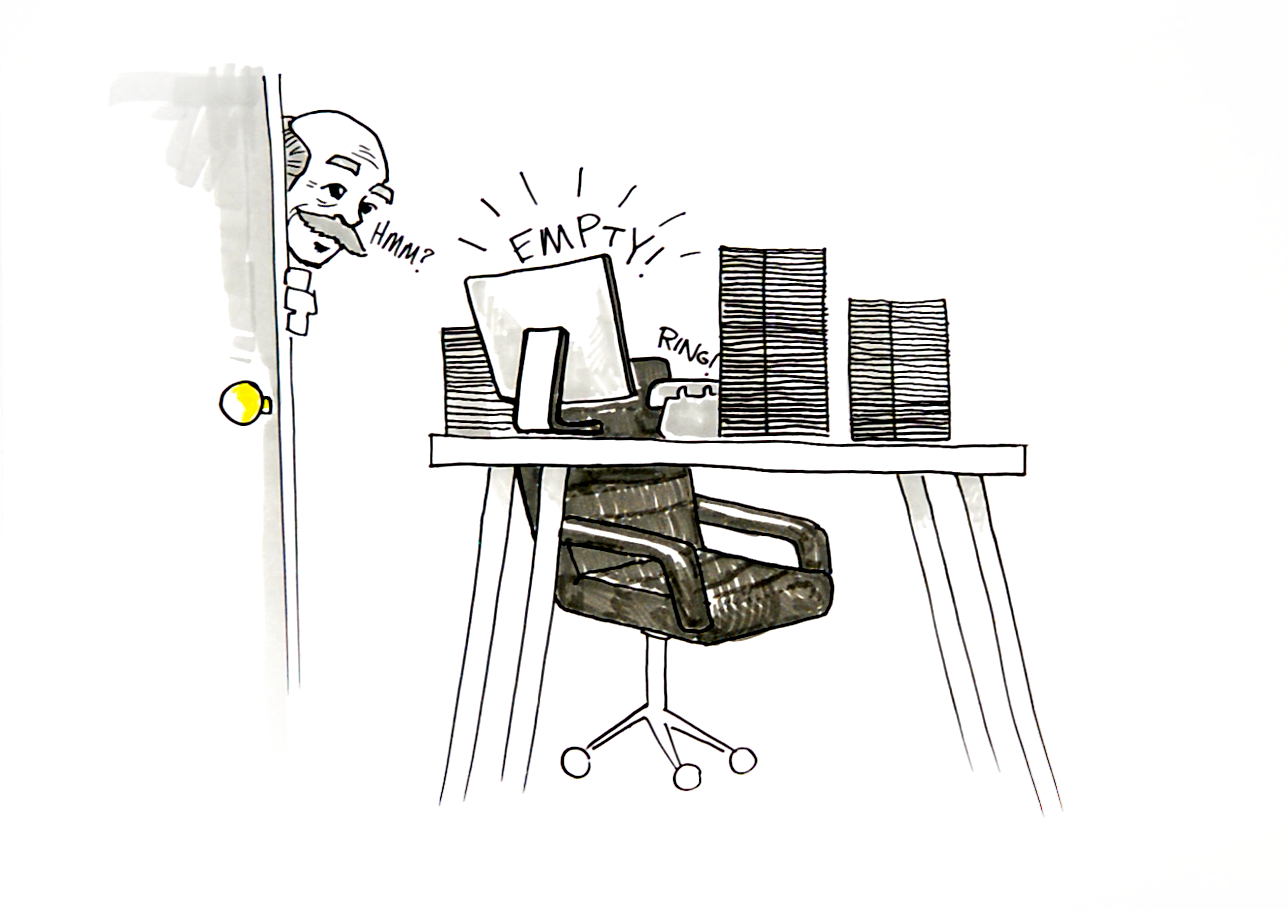 Sketch of busy desk piled with paper with a missing worker