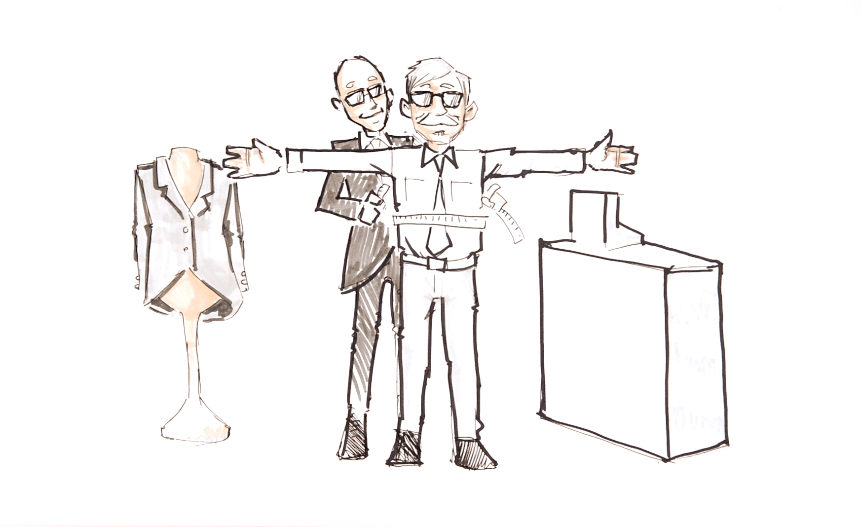 Sketch of tailor measuring a suit